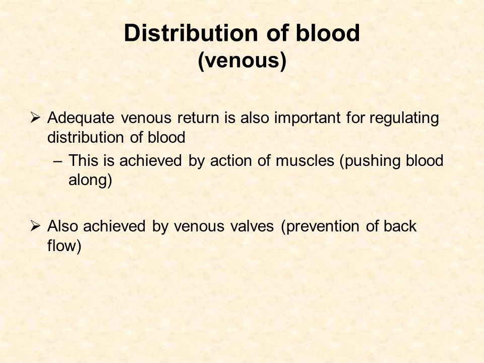 Distribution of blood (venous)