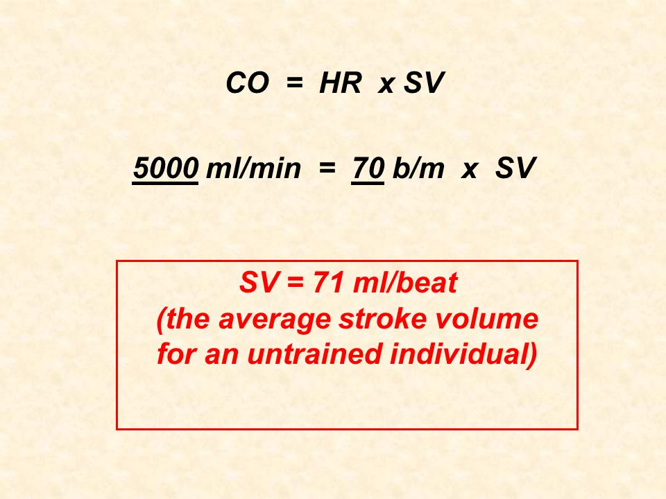 (the average stroke volume for an untrained individual)