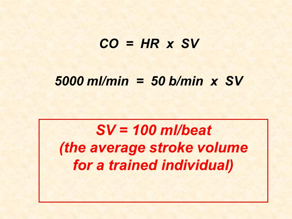 (the average stroke volume for a trained individual)