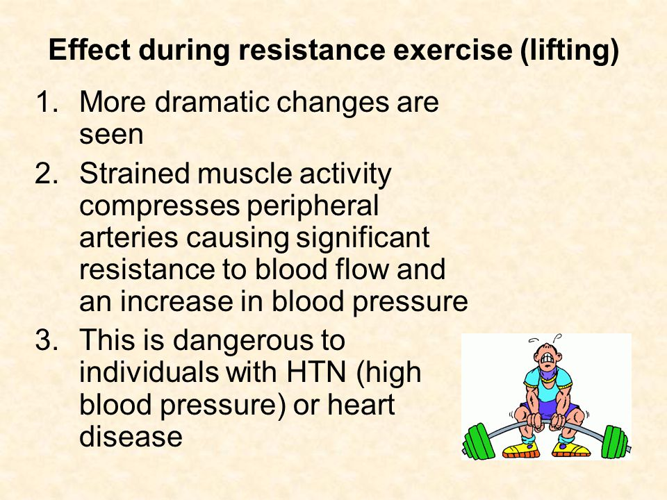 Effect during resistance exercise (lifting)