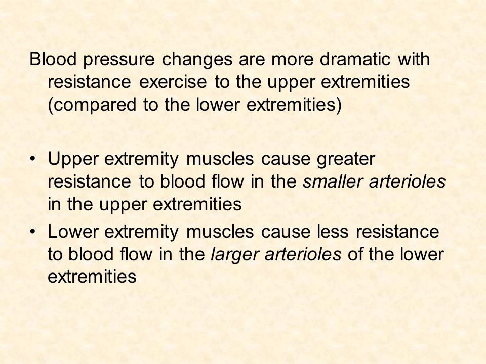 Blood pressure changes are more dramatic with resistance exercise to the upper extremities (compared to the lower extremities)