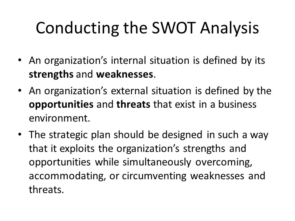 Conducting the SWOT Analysis