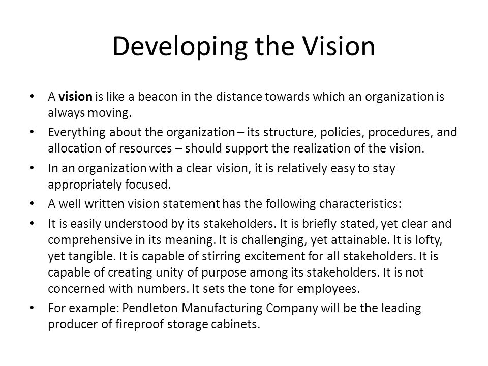 Developing the Vision A vision is like a beacon in the distance towards which an organization is always moving.