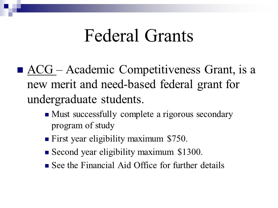 Academic Competitiveness Grants (ACG) Recognized State ...