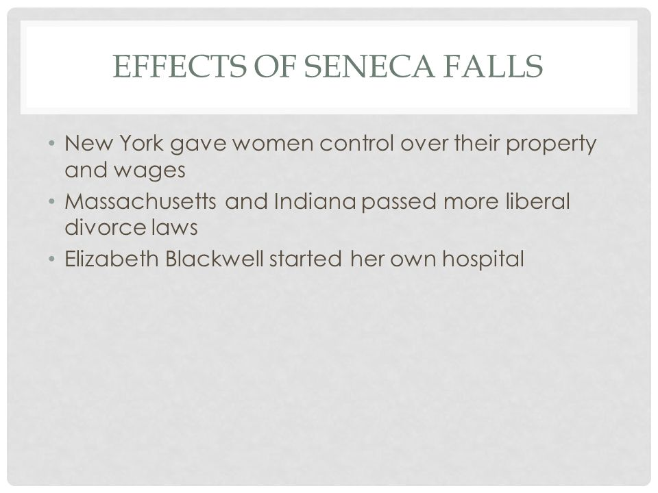 Effects of Seneca Falls