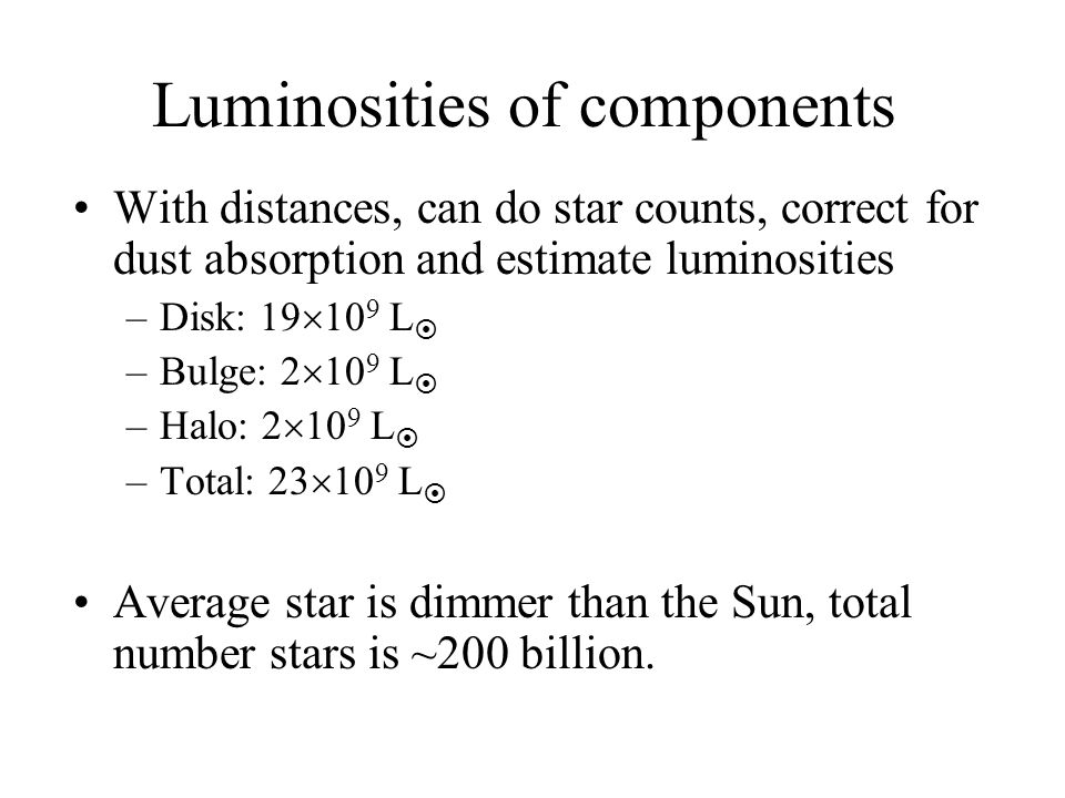 Luminosities of components