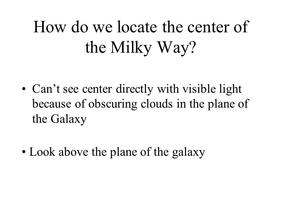 How do we locate the center of the Milky Way