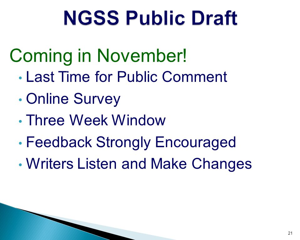 NGSS Public Draft Coming in November! Last Time for Public Comment