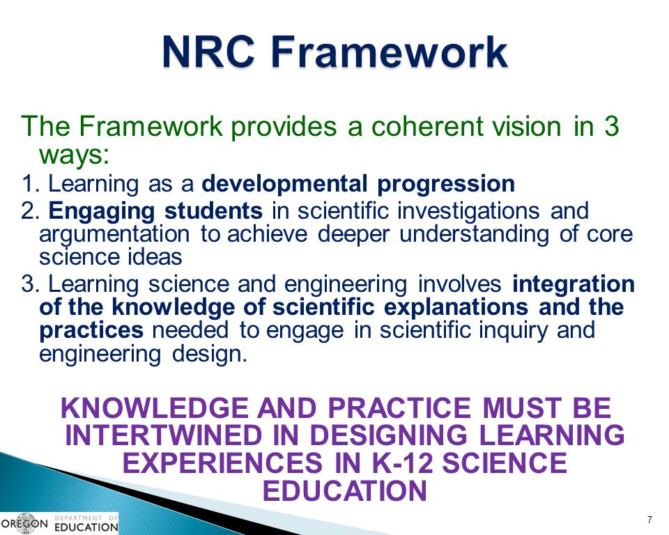 NRC Framework The Framework provides a coherent vision in 3 ways: