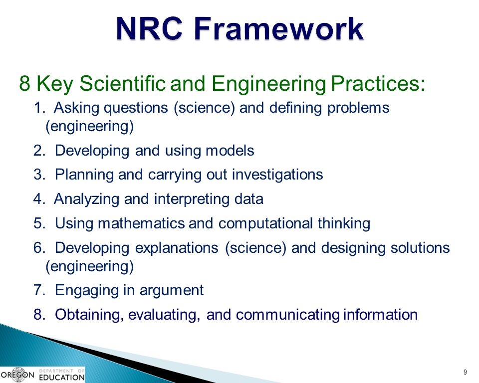NRC Framework 8 Key Scientific and Engineering Practices: