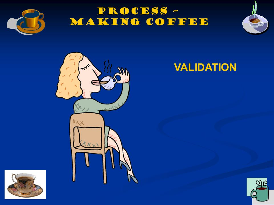 VALIDATION Process – making coffee