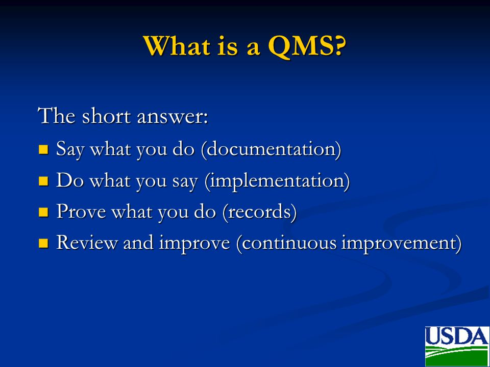 What is a QMS The short answer: Say what you do (documentation)