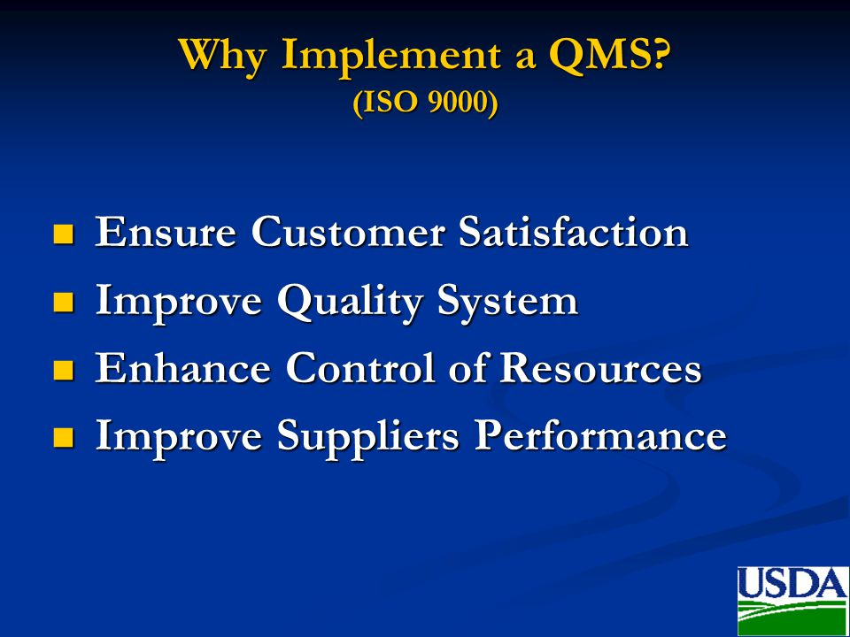 Why Implement a QMS (ISO 9000)