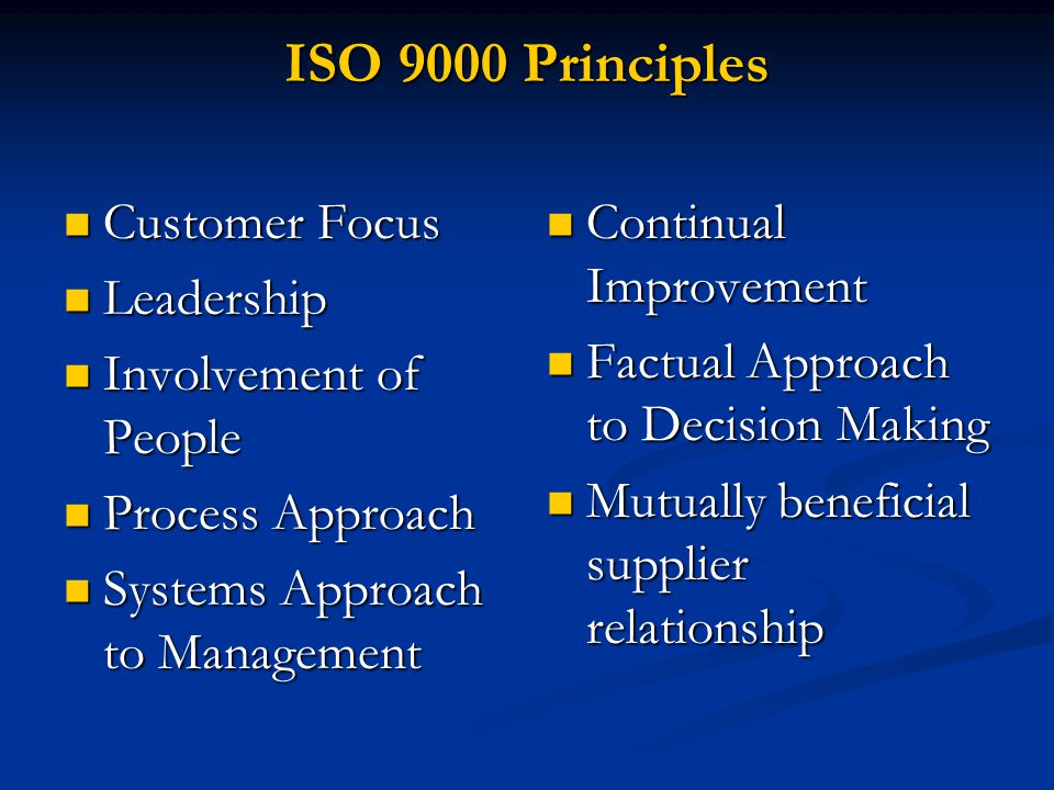 ISO 9000 Principles Customer Focus Leadership Involvement of People