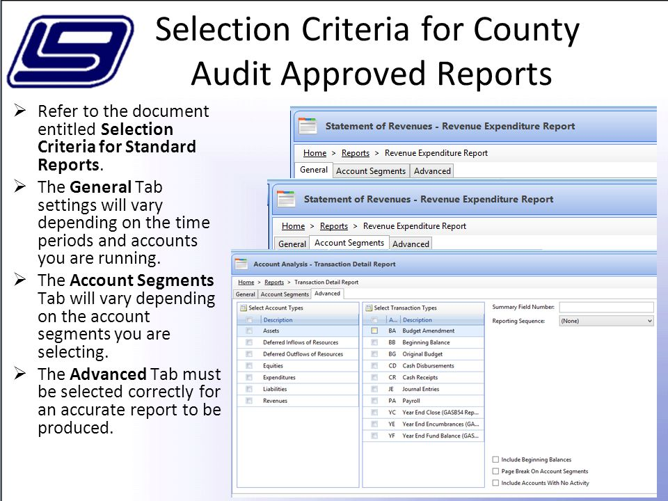 Selection Criteria for County Audit Approved Reports