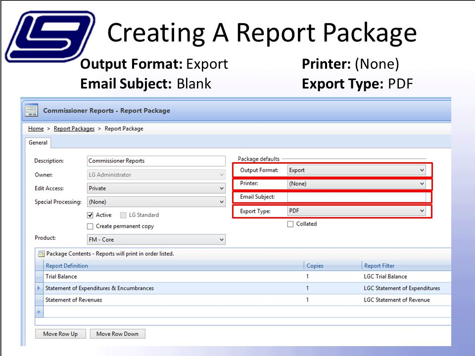 Creating A Report Package
