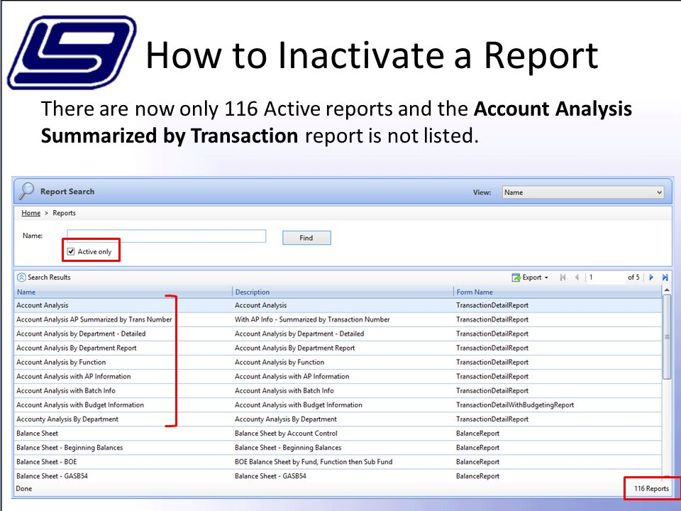 How to Inactivate a Report