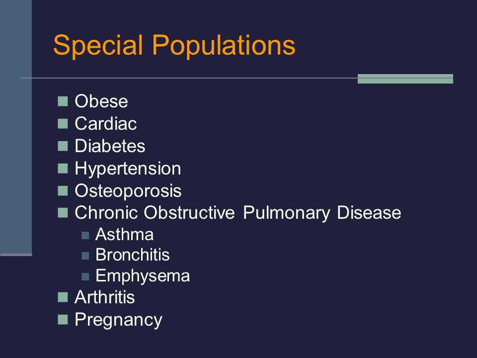 Special Populations Obese Cardiac Diabetes Hypertension Osteoporosis