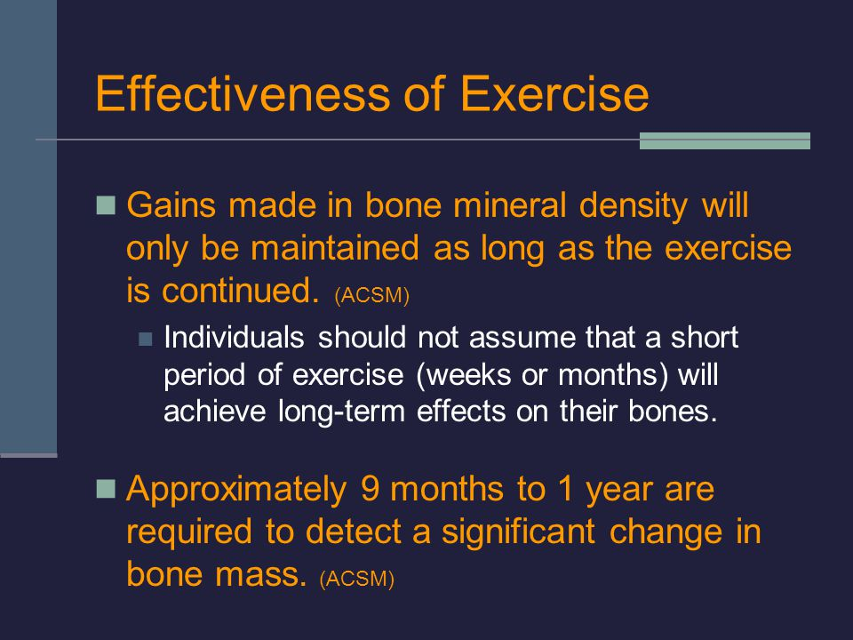 Effectiveness of Exercise