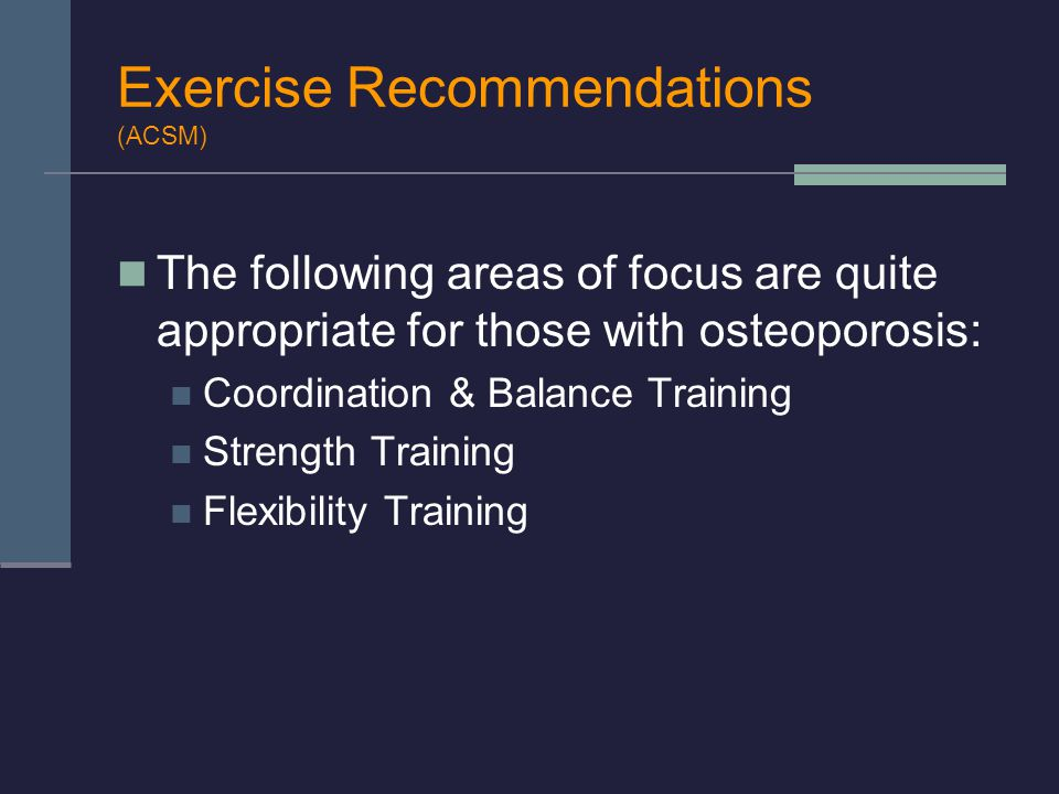 Exercise Recommendations (ACSM)