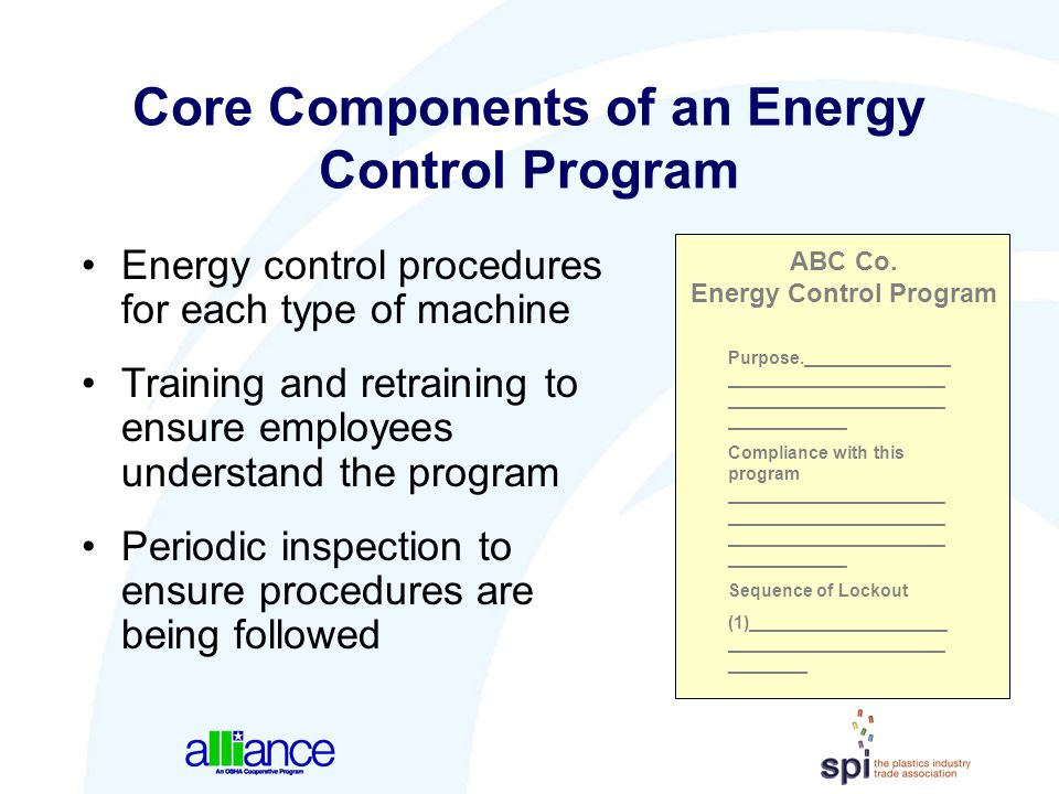 Core Components of an Energy Control Program