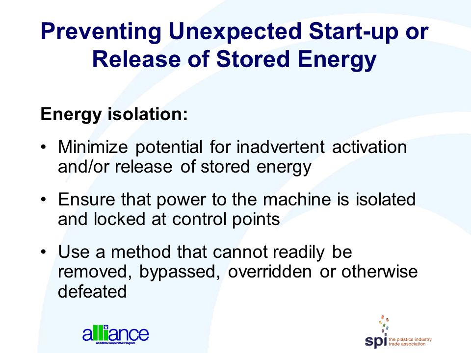 Preventing Unexpected Start-up or Release of Stored Energy