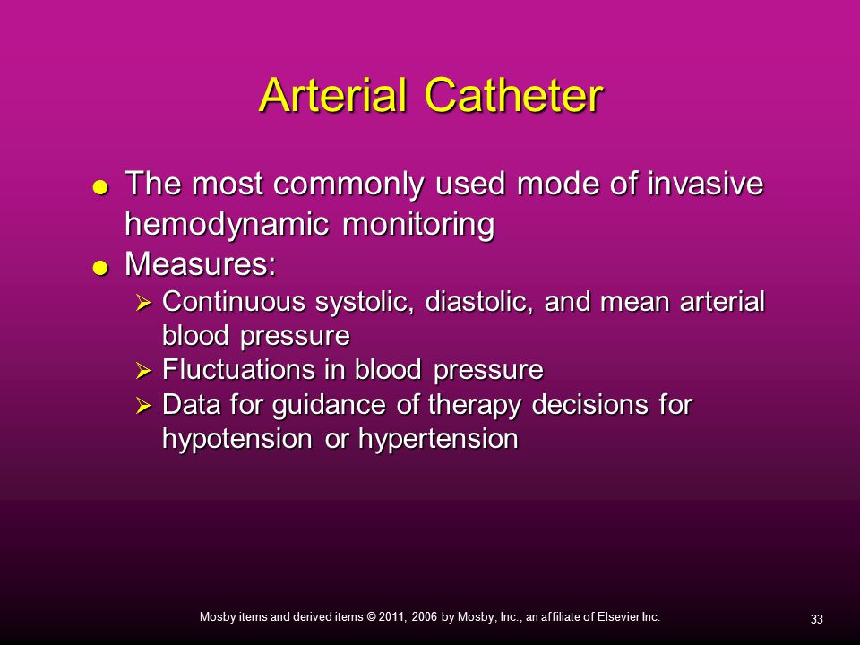 Arterial Catheter The most commonly used mode of invasive hemodynamic monitoring. Measures: