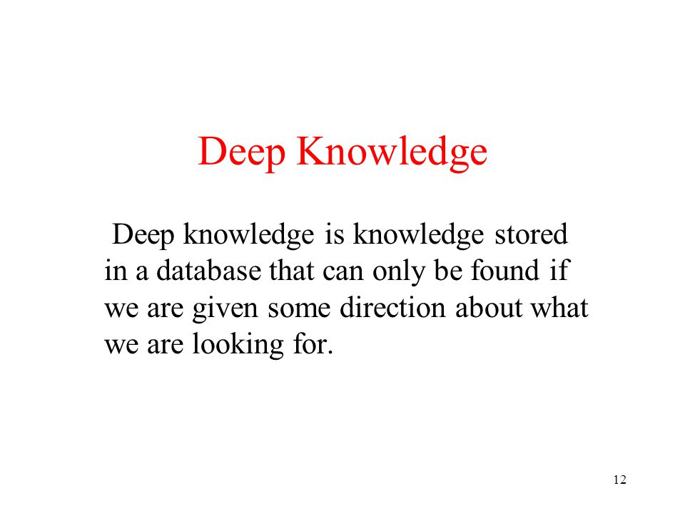 Deep Knowledge Deep knowledge is knowledge stored in a database that can only be found if we are given some direction about what we are looking for.