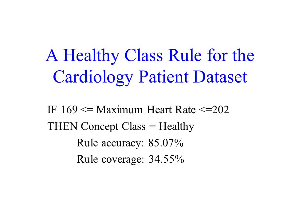 A Healthy Class Rule for the Cardiology Patient Dataset