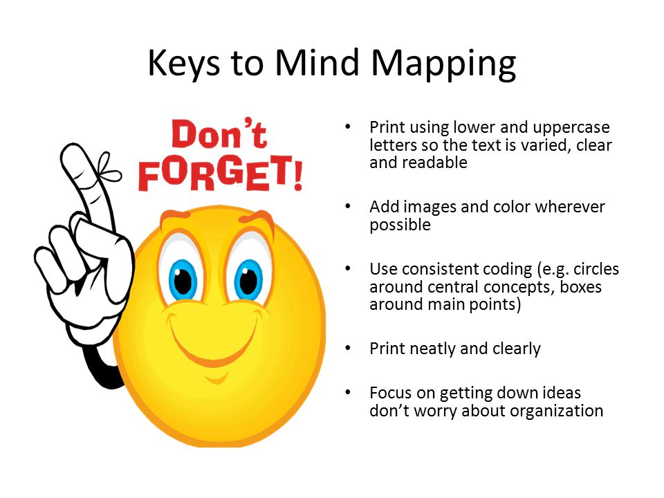 Keys to Mind Mapping Print using lower and uppercase letters so the text is varied, clear and readable.