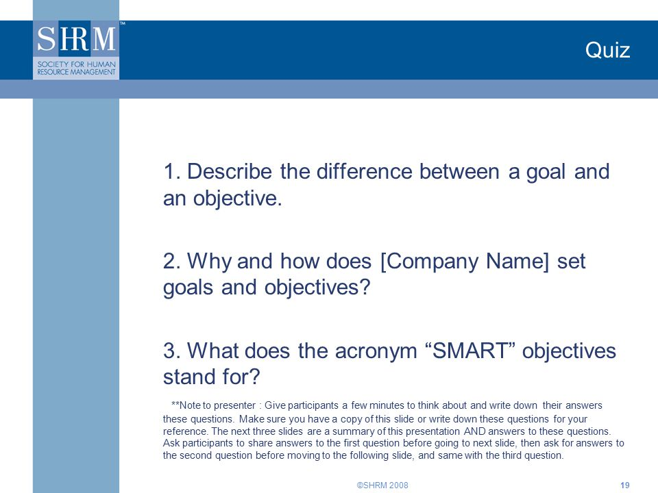 Setting SMART Objectives Training - ppt video online download