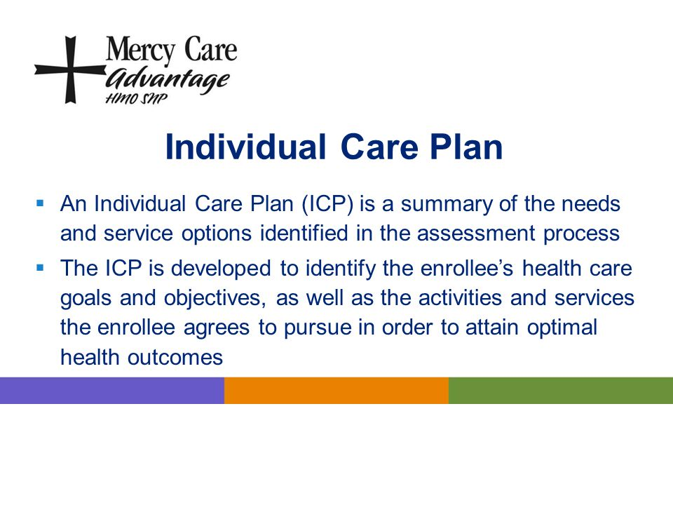 Individual Care Plan An Individual Care Plan (ICP) is a summary of the needs and service options identified in the assessment process.