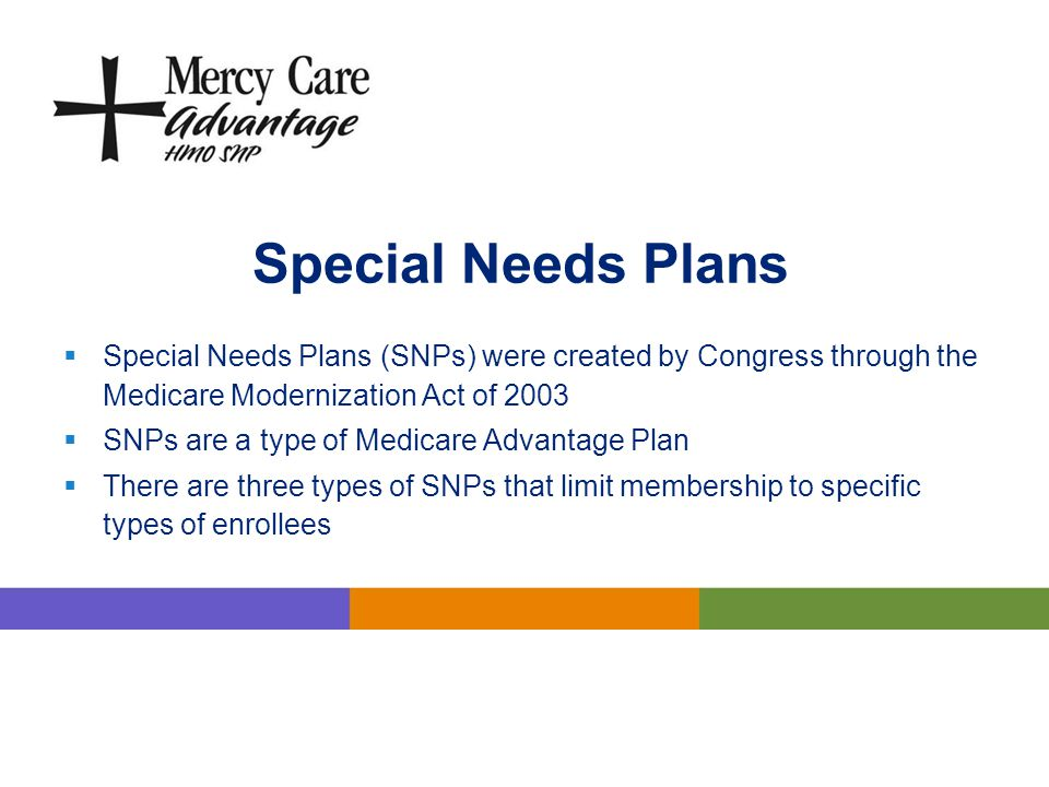 Special Needs Plans Special Needs Plans (SNPs) were created by Congress through the Medicare Modernization Act of