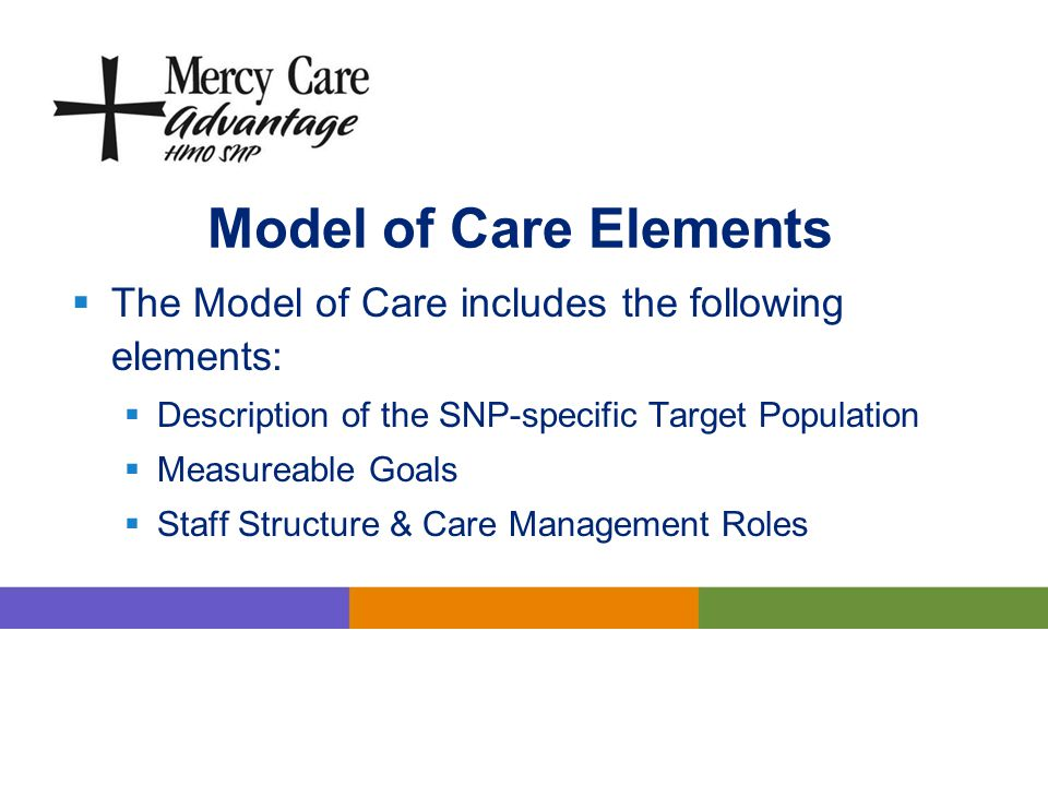 Model of Care Elements The Model of Care includes the following elements: Description of the SNP-specific Target Population.