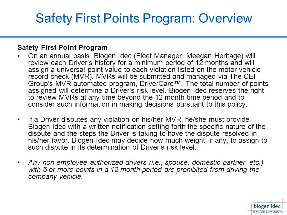 Safety First Points Program: Overview