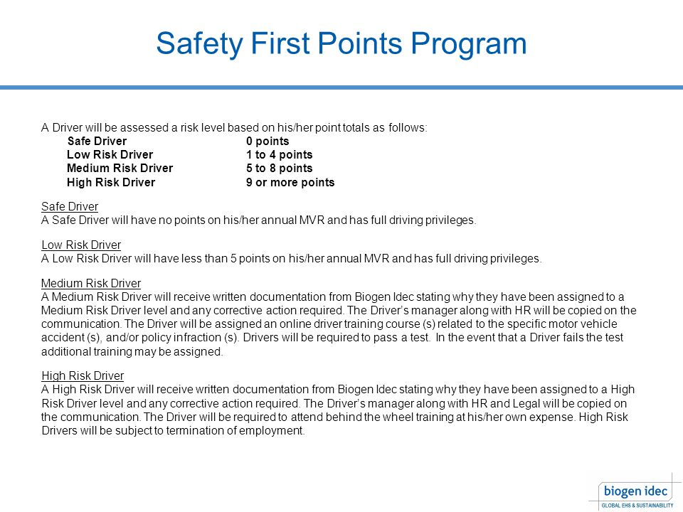 Safety First Points Program