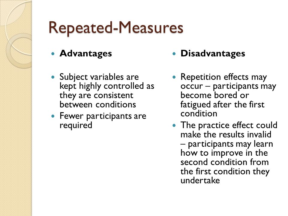 Repeated-Measures Advantages