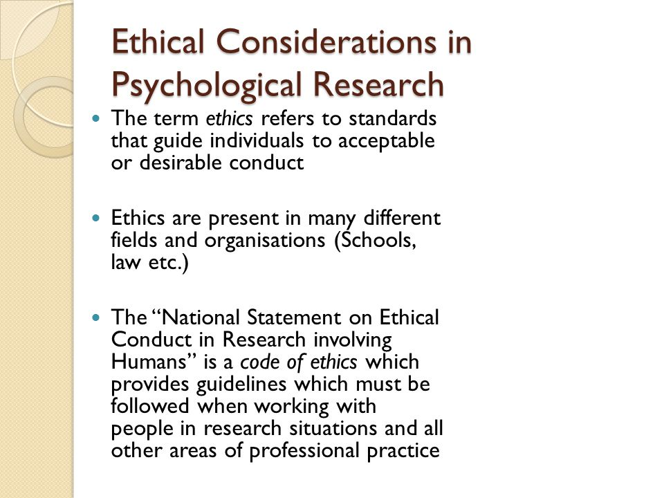 Ethical Considerations in Psychological Research
