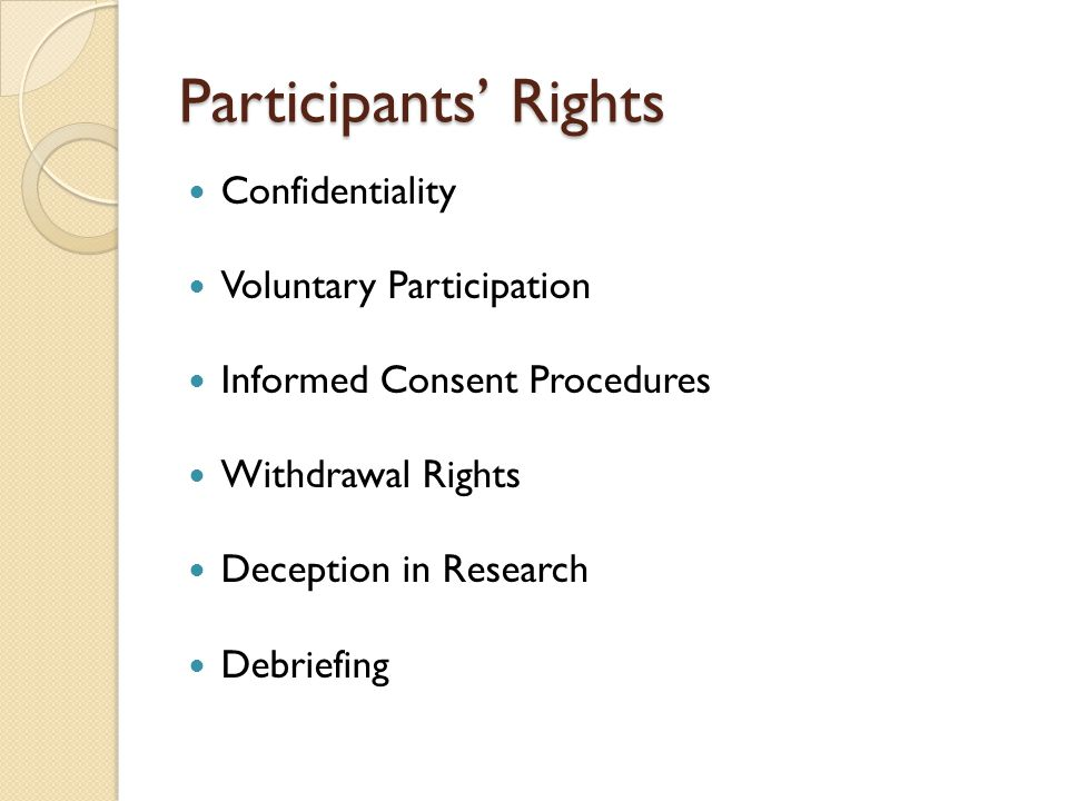 Participants' Rights Confidentiality Voluntary Participation