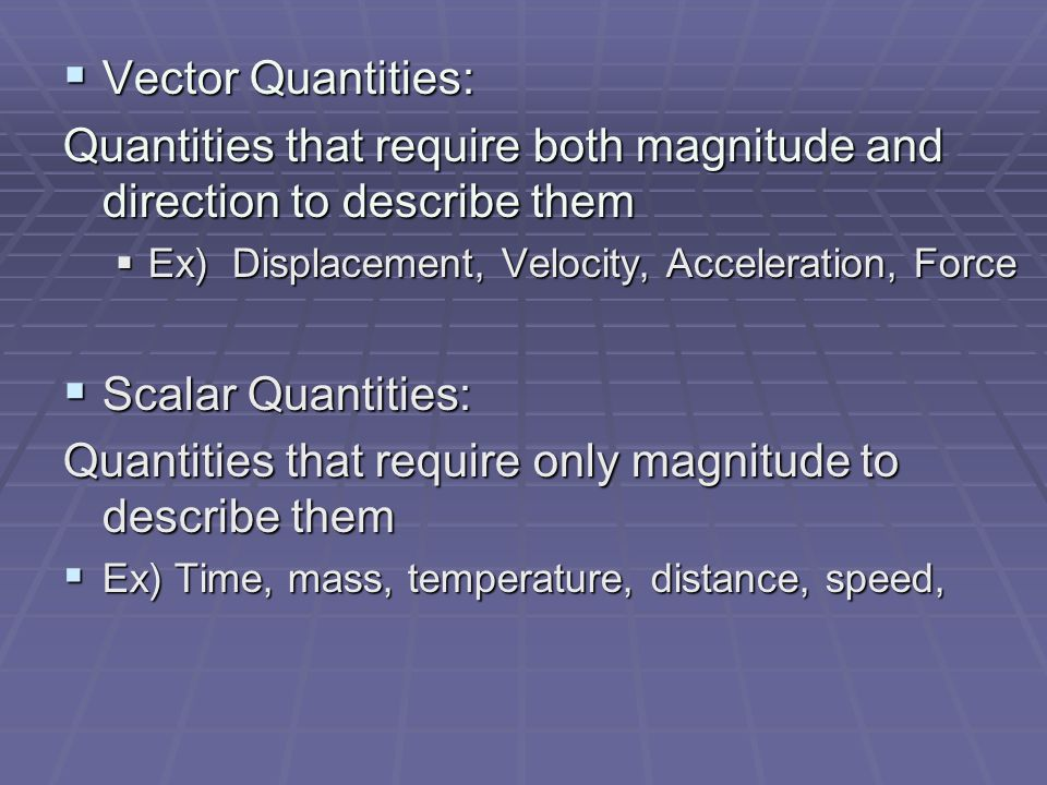 Quantities that require both magnitude and direction to describe them