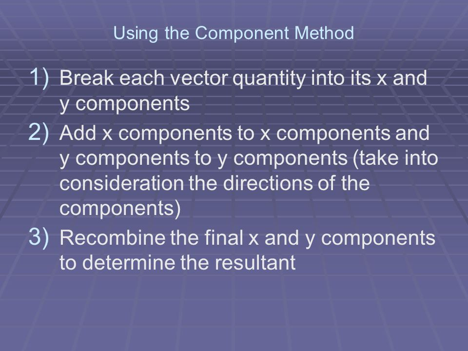 Using the Component Method