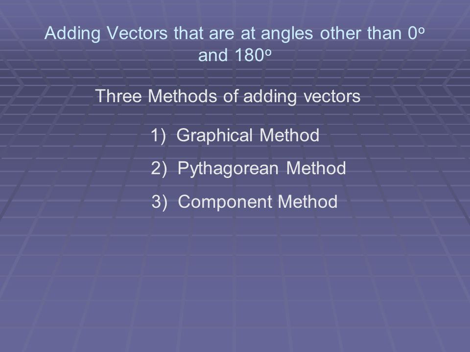 Adding Vectors that are at angles other than 0o and 180o