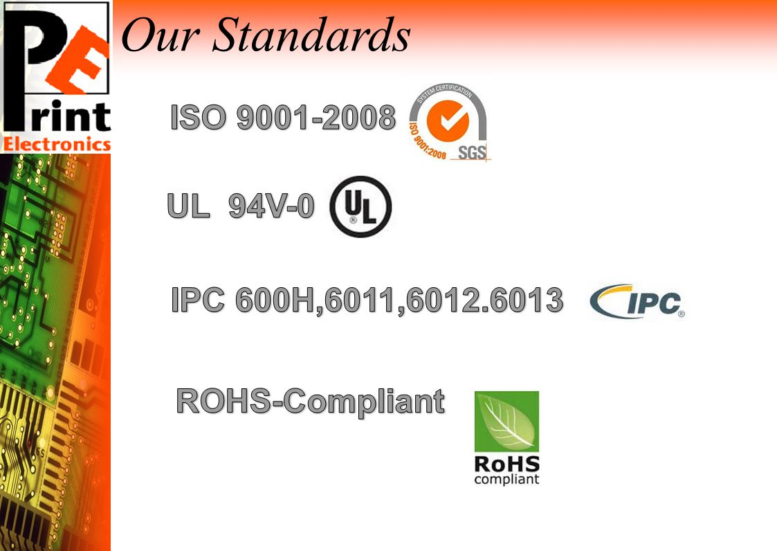 Your Pcb Partner Ppt Download Multilayer China Manufacturer Ul Rohs Ourpcb Our Standards Iso 94v 0 Ipc 600h6011