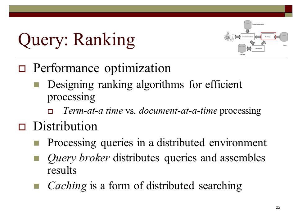 Query: Ranking Performance optimization Distribution