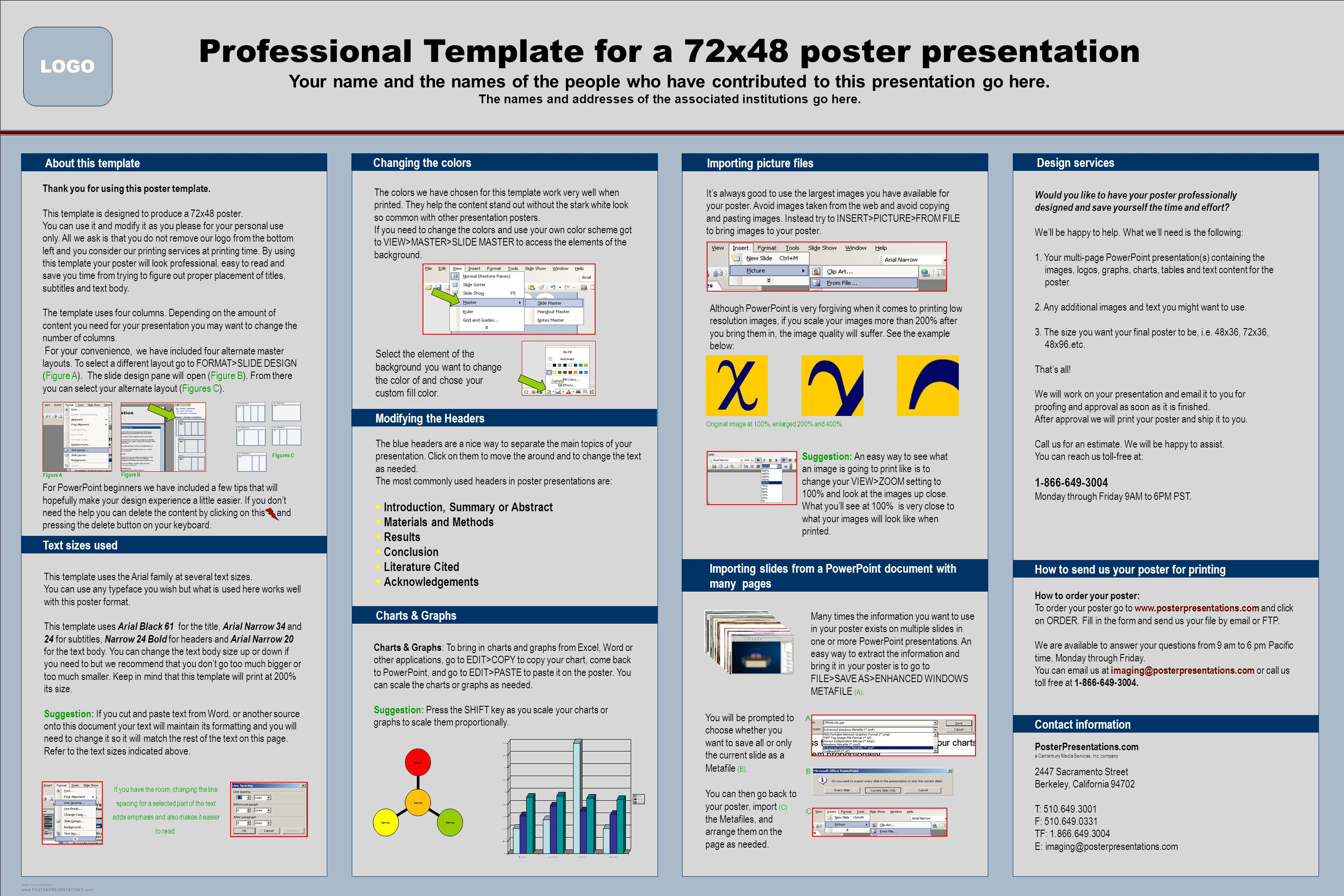 professional template for a 72x48 poster presentation ppt download