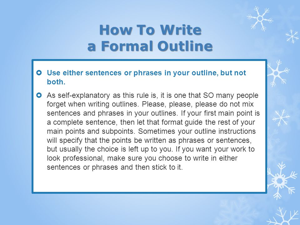 how to write and outline