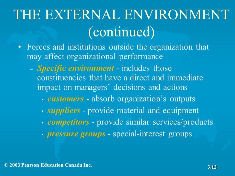 THE EXTERNAL ENVIRONMENT (continued)