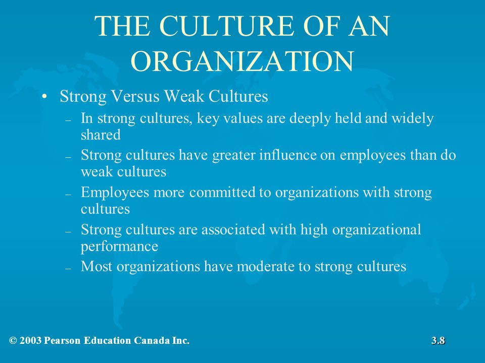THE CULTURE OF AN ORGANIZATION