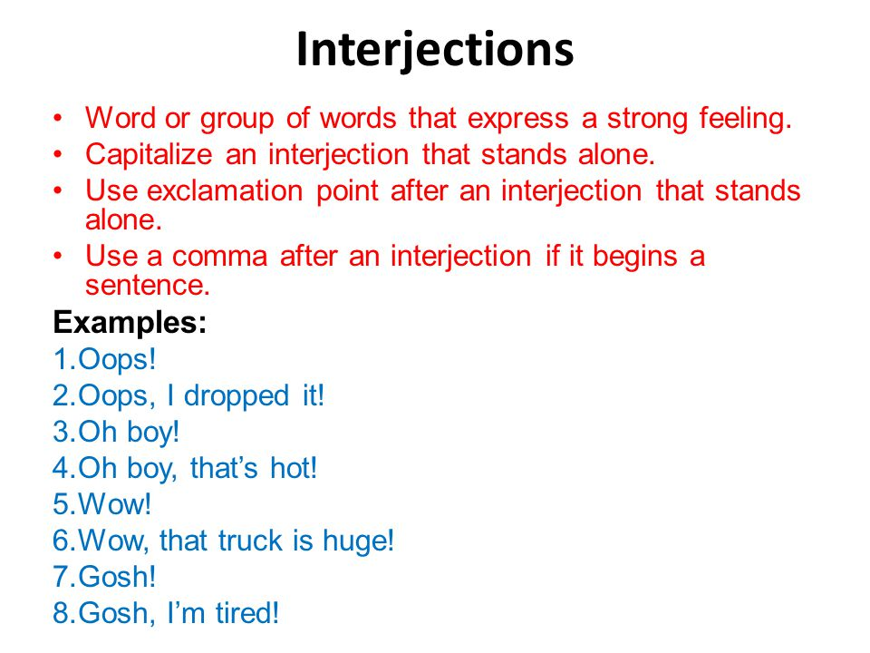 interjections examples in sentences
