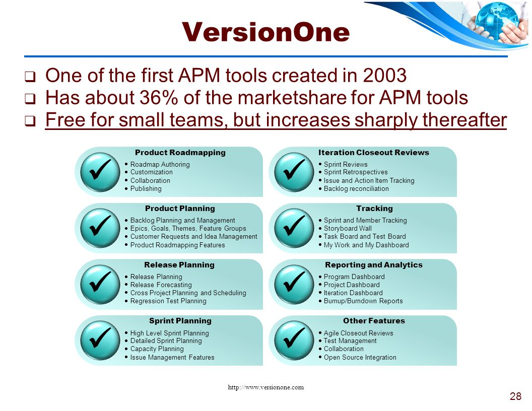   VersionOne One of the first APM tools created in 2003
